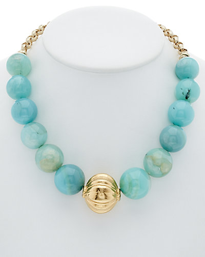 Devon Leigh 24K & 18K Plated Chalcedony Necklace