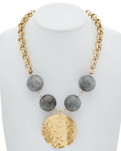 Devon Leigh 24K & 18K Plated Agate Medallion Necklace