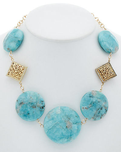 Devon Leigh 24K Electroplated Amazonite & Crystal Necklace