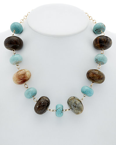 Devon Leigh 14K Filled Jade & Howlite Necklace