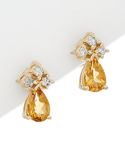 Effy Fine Jewelry 14K 0.78 ct. tw. Diamond & Citrine Earrings