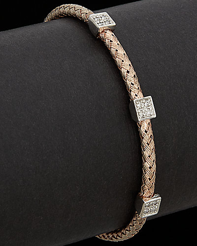 Meshmerise 18K Rose Gold Over Silver 0.30 ct. tw. Diamond Mesh Bangle