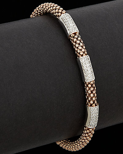 Meshmerise 18K Rose Gold Over Silver 0.50 ct. tw. Diamond Bar Mesh Bangle