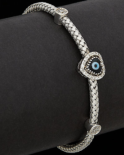 Meshmerise 18K Over Silver 0.25 ct. tw. Diamond Evil Eye Mesh Bangle