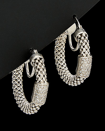 Meshmerise 18K Over Silver 0.50 ct. tw. Diamond Bar Hoop Earrings