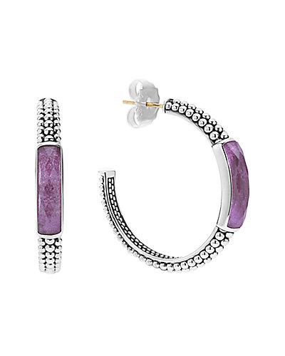 LAGOS Maya Silver Charoite Doublet Hoop Earrings