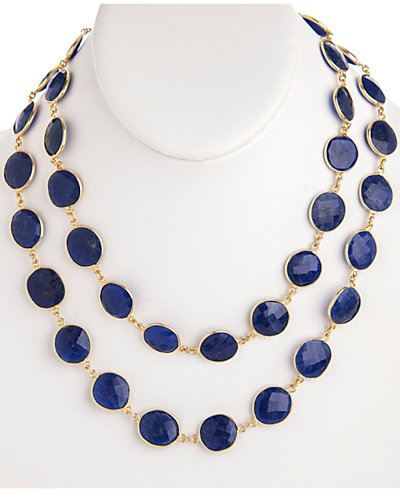 Rivka Friedman Signature 14K Over Silver 240.00 ct. tw. Blue Onyx 36in Necklace
