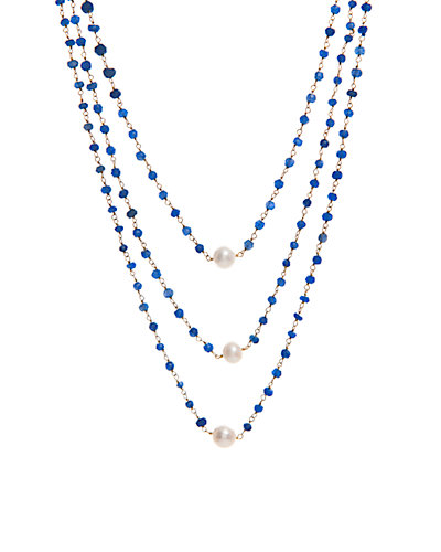 Rivka Friedman Signature 14K Clad Sapphire 8mm Freshwater Pearl Necklace