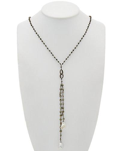 Felix & Lola by Rivka Friedman Rhodium Clad 13-16mm Pearl & Gemstone Necklace