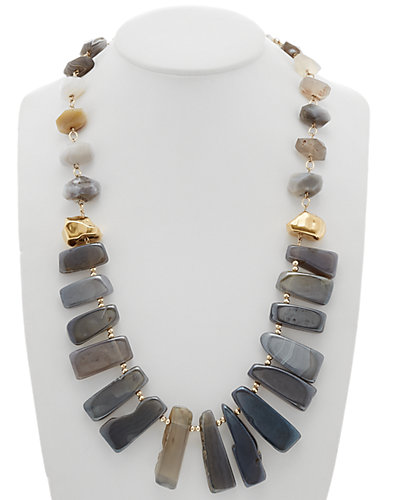 Devon Leigh 18K Plated & 14K Fill Agate 28in Necklace