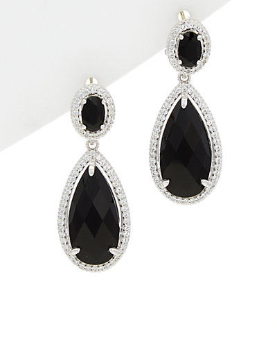 Judith Ripka 18K & Silver 14.42 ct. tw. Sapphire & Onyx Earrings