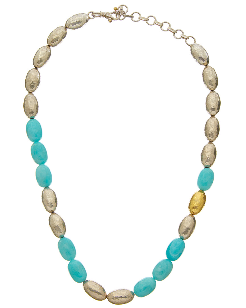 Gurhan COCOON 24K & SILVER AMAZONITE NECKLACE