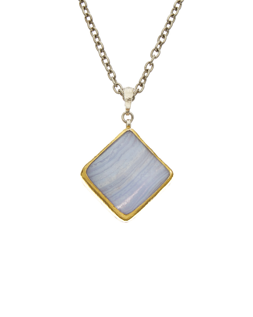 Gurhan GALAPAGOS 24K & SILVER LACE AGATE NECKLACE