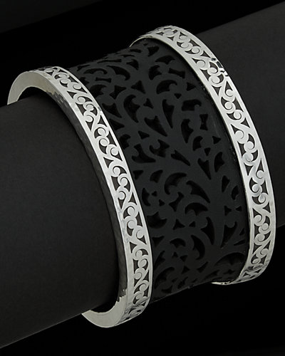 Lois Hill Silver & Leather Scroll Toggle Cuff