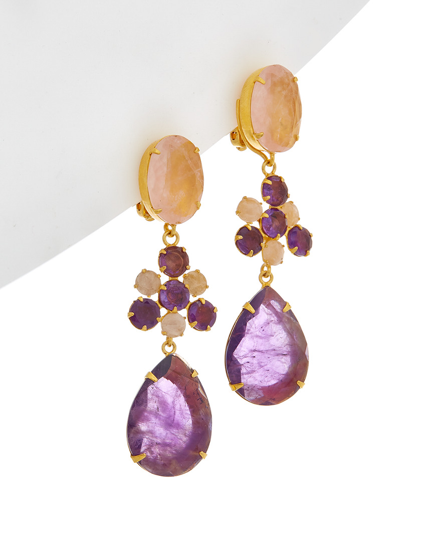 Bounkit 14k Plated Rose Quartz Drop Earrings