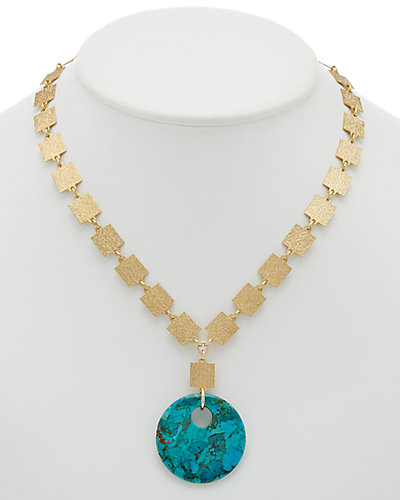 Devon Leigh 24K Plated & 14K Plated Howlite Mosaic Link Necklace