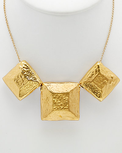 Devon Leigh 18K Plated & 14K Plated Hammered Square Necklace