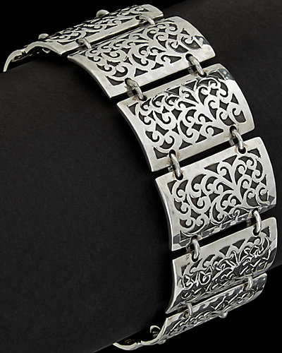 Lois Hill Silver Cut-Out Rectangular Station Toggle Bracelet