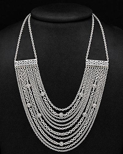 Lois Hill Classic Silver Multi Chain Toggle Necklace