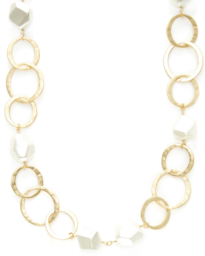 Kenneth Jay Lane CIRCLES LINK & PEARL STATION NECKLACE