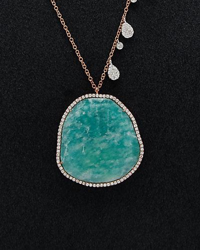 Meira T 18K Two-Tone & Silver 27.70 ct. tw. Diamond & Amazonite Necklace