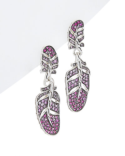 John Hardy Classic Chain Feather Silver Sapphire Lava Earrings