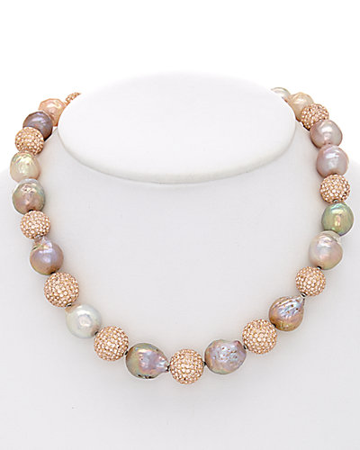 HONORA 11-15mm Pearl & Crystal Necklace