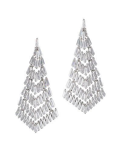 CZ by Kenneth Jay Lane Plated Deco Fringe Earrings