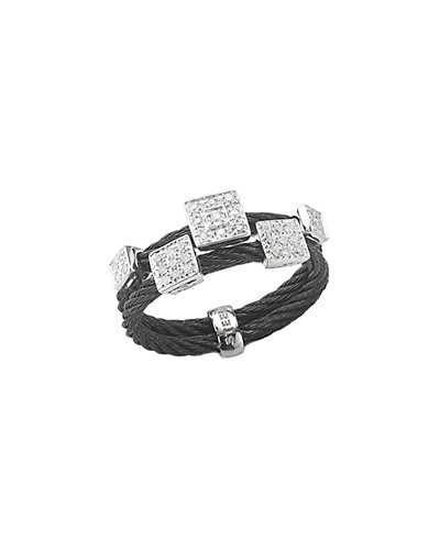 ALOR Noir 18K 0.18 ct. tw. Diamond Cable Ring
