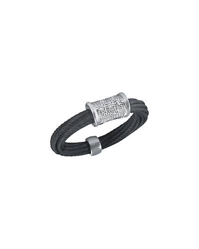 ALOR Noir 18K Diamond Cable Ring