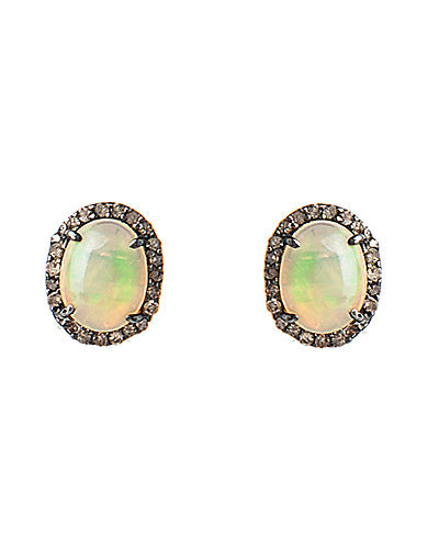 Rivka Friedman Signature Silver 2.34 ct. tw. Champagne Diamond & Opal Earrings