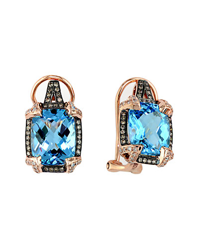 Effy 14K Rose Gold 8.24 ct. tw. Brown & White Diamond & Blue Topaz Earrings