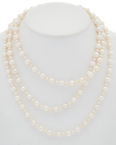 HONORA Silver 4.5-9.5mm Pearl 60in Necklace