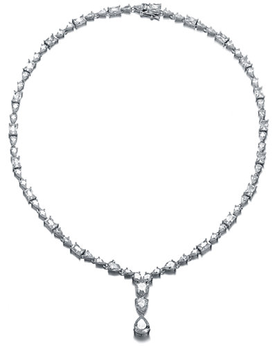 Genevive Silver CZ & Pearl Necklace