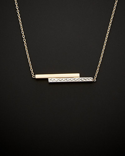 14K Italian Gold Two-Tone Double Bar Adjustable Necklace