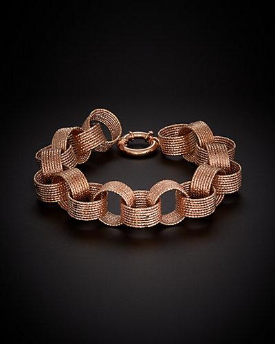 14K Italian Rose Gold Hammered Link Bracelet