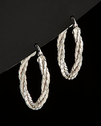 14K Italian Gold Braided Round Hoop Earrings