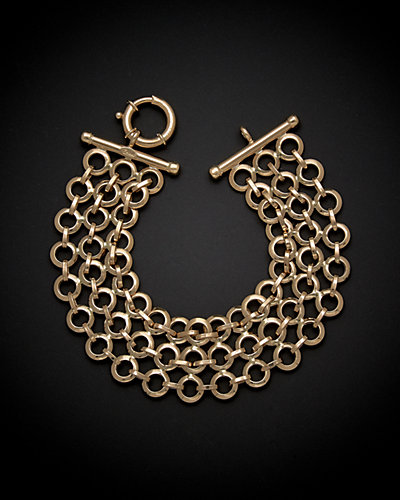 14K Italian Gold Multi-Strand Circular Link Bracelet